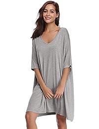 2425713d9381 Aibrou Donna Camicia da Notte Pigiama T-Shirt Vestito Sciolto Plus Size  Scollo a V