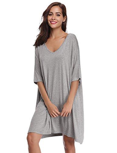 Aibrou Damen Nachthemd Nachtkleid Kurz Sommer Nachtwäsche Negligee Umstandskleid Stillnachthemd Sleepshirt aus Modal Grau L