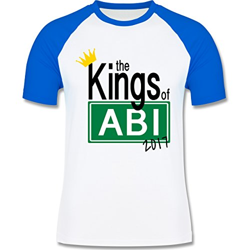 Abi & Abschluss - The Kings of Abi 2017 - zweifarbiges Baseballshirt für Männer Weiß/Royalblau