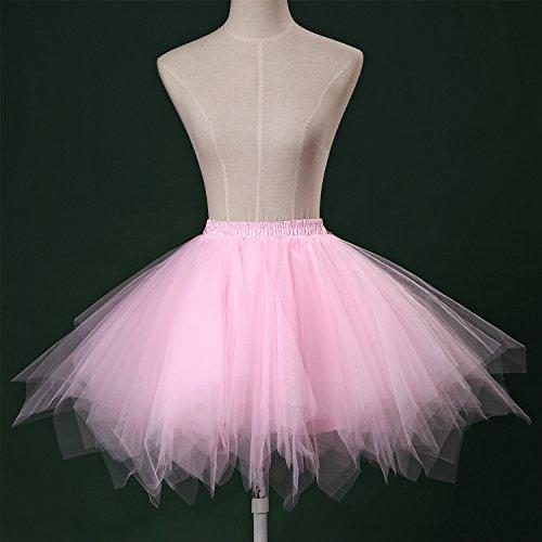 LSCY 1950s Vintage Schicht Gaze Petticoat Tutu Tutus Fluffy Schaum Falten Rock Tüllrock Kurz Ballett Pink