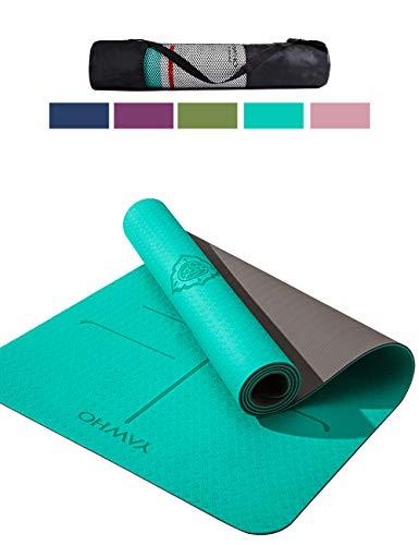 YAWHO Tapis de Yoga Tapis Fitness Tapis d'Exercice,matières de TPE,Dimension:183cmX66cm,épais de 6 mm,très Grand Tapis de Sport antidérapant,Un Sangle et Un Sac à Dos comme des Cadeaux (Cyan)