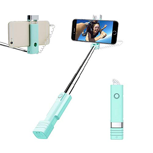 atongm Perche Selfie Mini Selfie Stick, Fil Selfie Stick pour iPhone 6 6S Plus 7 7S Plus + Samsung Galaxy S7 S6 S5 S4 Android/téléphones Apple (Bleu)
