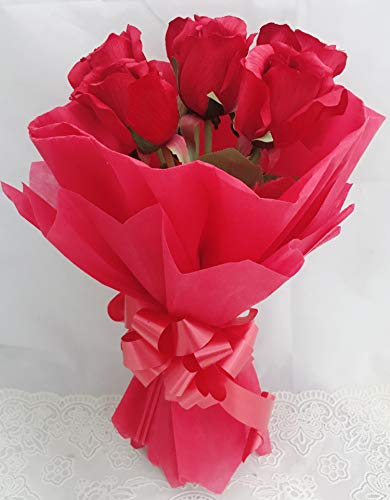 Just Flowers® Artificial Natural Looking Red Roses Hand Bouquet (6 Red Roses)