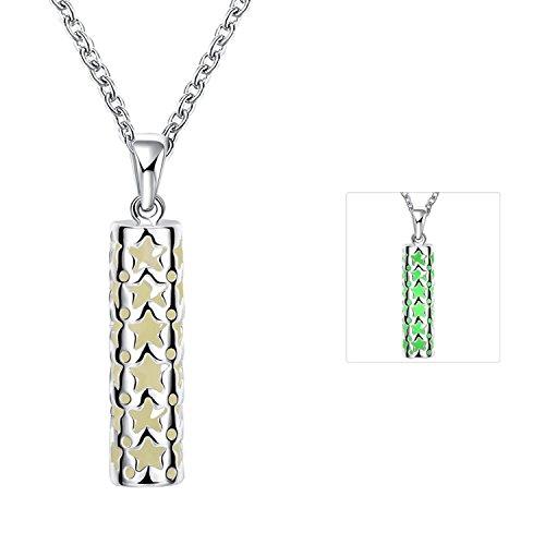 Gnzoe Schmuck Damen Leuchtende Halskette Stern Form Anhänger Nachtleuchtende Anhänger Freundschaftsketten Kette mit Leuchtend Stein Dunkelblau (Tracht Die Niederlande)