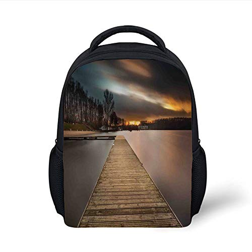 Kids School Backpack Landscape,Lake Landscape with Jetty Cloudy and Dramatic Sky Scene at Sunset Image,Brown Bronze Black Plain Bookbag Travel Daypack - Bronze-sprayer