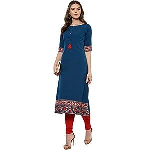 Janasya Women's Polyester Crepe A-Line Kurta