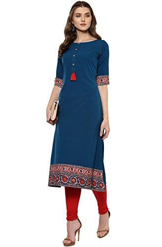 Janasya Women's A-Line Kurta (JNE2100-KR-144_Turquoise_XL)