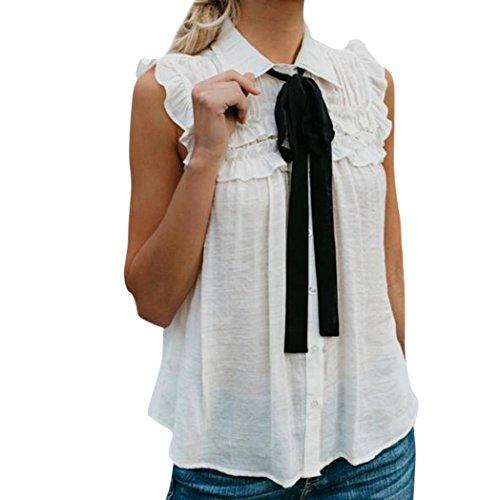 Tank Tops Kolylong® Damen Elegant Ärmellose Blusen mit Schleife Festlich Oberteil Business Hemden Weißes Hemdshirt Lässiges Hemdbluse Sommer Sleeveless Shirt Tunika T-Shirt Sweatshirt (Weiß, S)