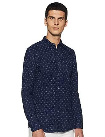 Allen Solly Men's Printed Regular fit Casual Shirt (ALSFACUFY35171_Navy_39)
