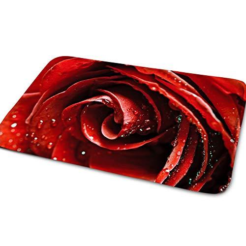 Rote Rose Chic Gemustert Fußmatten Abriebfest rutschfest Fußmatten Sehr Weich Einstiegs-Fußmatte Dekorativ Für Schlafzimme Den Innen Und Außenbereich -