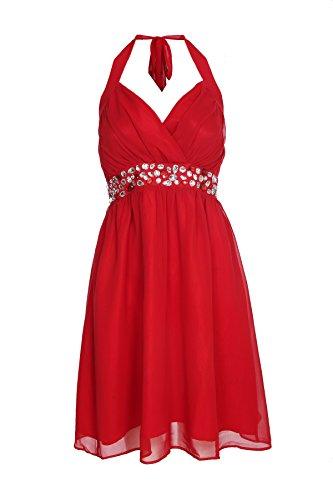 ROBLORA del vestito formale sera del cocktail damigella d' onore abito da sposa spalla breve eliza01 Rosso