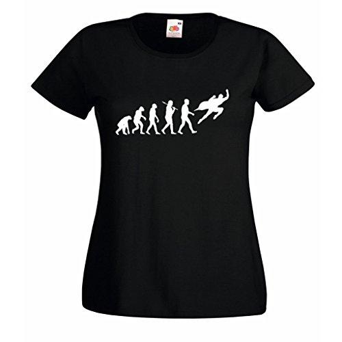 1StopShops Evolution Superhero Damen T-Shirt Schwarz mit Weißem Druck Gr. X-Large, Schwarz