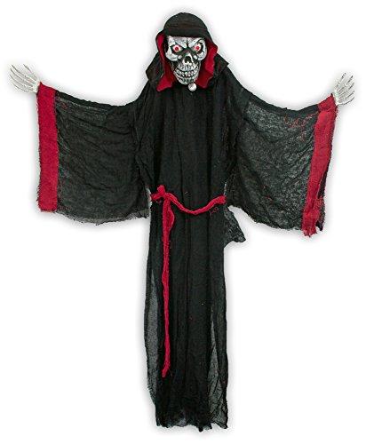 Standfigur Vampir Geist mit Totenkopf animiert - 155 cm - Schockierende Horror Puppe zur Halloween oder Mottoparty (Animierte Halloween)