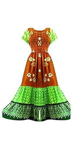 Cool Kaftans - Caftan Femme Ethique Robe Maxi Longue Motif Urbain Fantaisie 3 Pans de Tissus Marron et Vert