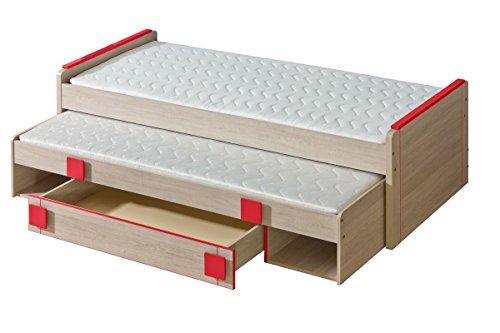 Preisvergleich Produktbild Kinderbett / Jugendbett Elias 16 inkl. 2. Liegefläche und Schublade, Farbe: Hellbraun / Rot - Liegefläche: 80 x 200 cm (B x L)