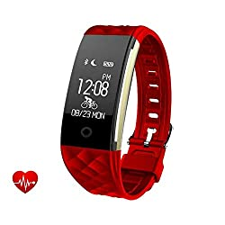 Smart Bracelet Sports Fitness Tracker, Waterproof Activity Tracker With Heart Rate Monitor Sleep Monitor Pedometer Calorie Counter, Cycling Monitor Callsms Whatsapp Facebook Reminder Vibration Ip67 Waterproof Smart Watch For Android & Ios Phone (Red)