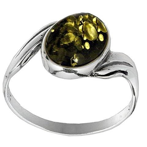 Noda bague en ambre vert et argent 925/1000 solitaire ovale