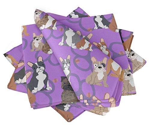 S4Sassy Lila Hunde & Pfote Hund Partys Tischdekoration Bettwäsche Wiederverwendbare Tuch Servietten Set 22 x 22(Packung mit 6) -