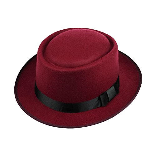 Zhhlinyuan Unisex Adult Fashion Wool Felt chapeau Retro Gentleman Fedora Hat 1286 red