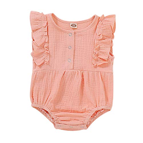 squarex Infant Baby Girl Kid Neugeborene ärmellose Plissee seitlich Fliegende Ärmel Volltonfarbe Rüschen Strampler Bodysuit Outfits Rosa Infant Bodysuit