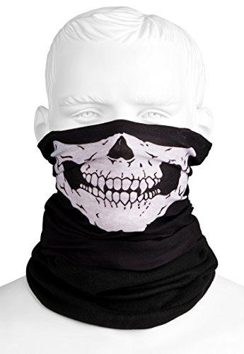 Totenkopf Multifunktionstuch Polar mit Fleece | Skull Motiv | Schlauchtuch | Halswärmer | schwarz | Halstuch mit Totenkopf- Skelettmasken für Motorrad Fahrrad Ski Paintball Gamer Skull (Kostüm Für Kinder 300)