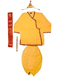 Krystle Yellow Krishna Style Kurta & Dhoti Dress For Kids (Pack Of 5-Kurta,Dhoti,Bansuri,Mukut,Patka)