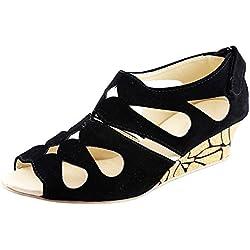 Kanchan Women's Black Wedges Sandal