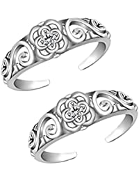 Jewels Exotic Fashion Toe Rings In 0.02 CT White CZ 925 Sterling Silver 14K White Gold Finish