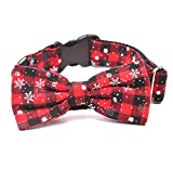 HNBGY Einstellbar Weihnachten weiße Schneeflocke Fliege Pet Halsbänder Hund Katze Halsbänder (S, rot)