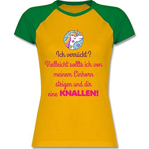 Comic Shirts - Ich verrückt? - zweifarbiges Baseballshirt / Raglan T-Shirt für Damen Gelb/Grün