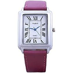 Yileiqi Unisex Men's Women's Silver Bezel White Face Rectangle Dial Purple PU Leather Strap Watch Analog Quartz Hook Buckle Clasp Extra Battery
