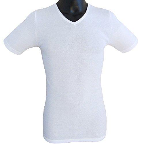 HERMKO 4880 4er Pack Herren Business kurzarm Unterhemd mit V-Ausschnitt Weiß