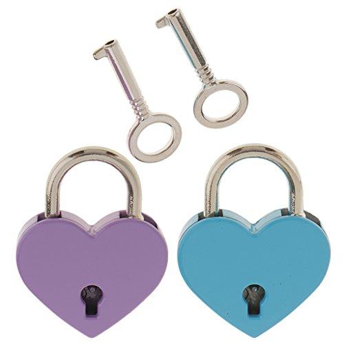 MagiDeal 2pcs Herzform Vorhängeschloss mit Schlüsseln Weinachten Geschenke