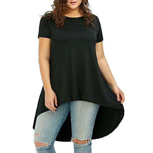 Aiserkly Mode Frauen Plus Size Solide Oansatz Kurzarm Asymmetrische T-Shirt Tops Schwarz 3XL
