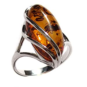Noda Baltic Honey Amber and Sterling Silver Designer Ring