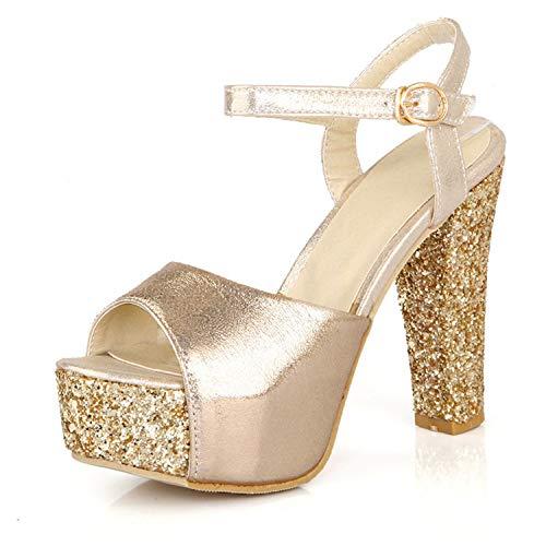 Brand Sandals Women High Heels Pumps Super high Heel Women's Banquet Sandals Waterproof Platform Toe Sandals Light Yellow 4