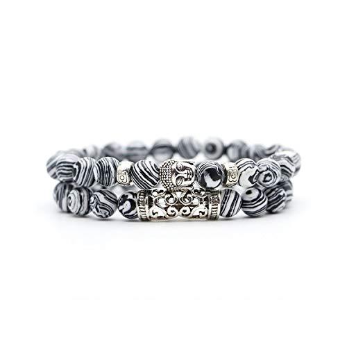Awertaweyt Armband aus Glasperlen, 2Pcs Set Black Lava Stone Prayer Beads Men Bead Bracelet Beaded Bracelets for Women and Mens Pulseras Masculina Gold-Color -