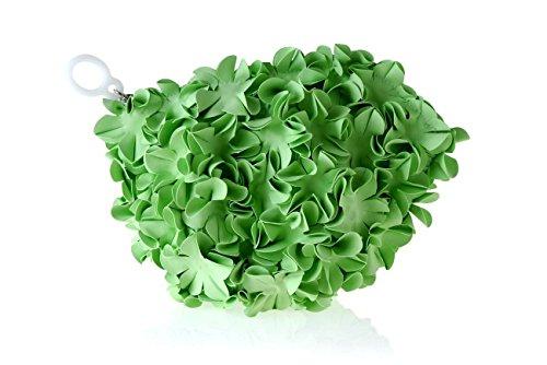Pochette a mano rosa o trousse donna firmata Brandina, Spa Flowers Verde