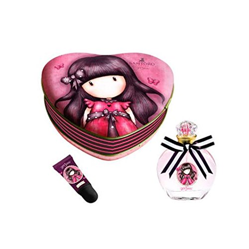 SET COLONIA 50ML Y BRILLO LABIAL FRUTAL EN ESTUCHE METAL 15CM CORAZON DE GORJUSS LADYBIRD