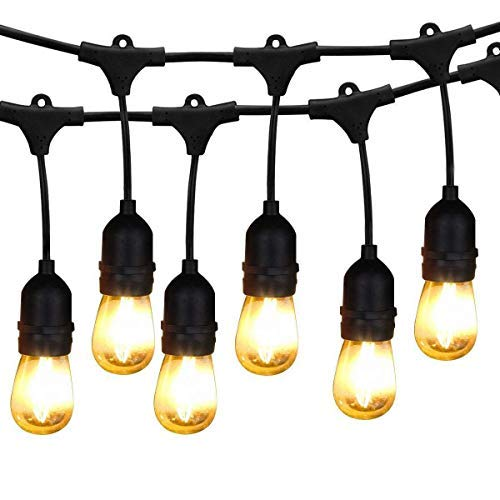 BRIMAX 48ft Outdoor Commercial Grade IP65 Waterproof LED String Lights, 15 E27 Dropped Sockets, 2W Warm White S14 LED 18 Bulbs Included - Weatherproof Festoon String Bulbs for Patio, Backyard, Wedding -