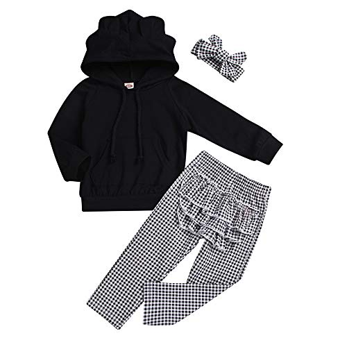 cinnamou 3pcs Baby Mädchenkleidung Set Ruffle Hoodie Tops + Karierte Hose + Stirnband-Set