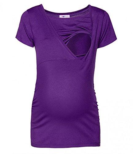 Happy Mama Femme. Top de maternité. T-shirt d'allaitement double épaisseur. 790p Pourpre