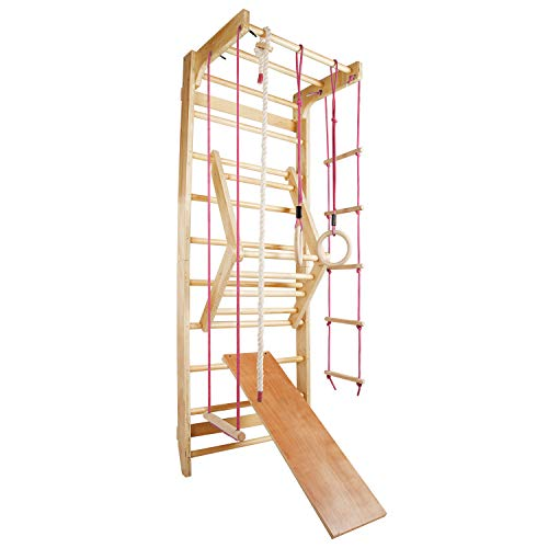 CCLIFE Sprossenwand Turnwand Gym Klettergerüst Holz Sportgerät Kletterwand mit Stange Fitness Kinder Erwachsener, Farbe:Sprossenwand 004 - Rot