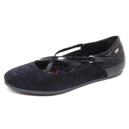 Dolce & Gabbana E2054 Ballerina Bimba Girl JUNIOR Suede Blue Scarpe Shoe [36]