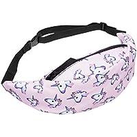 Amlaiworld Riñoneras de moda Mujeres hombres impresión deportes senderismo cinturón Running cintura bolsa (Multicolor F, 57*50*20cm)
