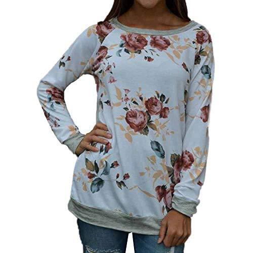 OSYARD Damen Sweatshirt Oberteile, Frauen Blumendruck Oberseiten Kleidung Pulli Jumper Hemd...