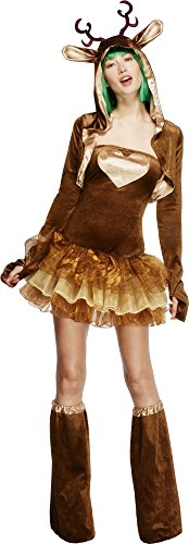 Fever, Damen Rentier Kostüm, Tutu-Kleid mit abnehmbaren Trägern, Jacke und Überstiefel, Größe: S, (Kostüme Rentier Ideen)