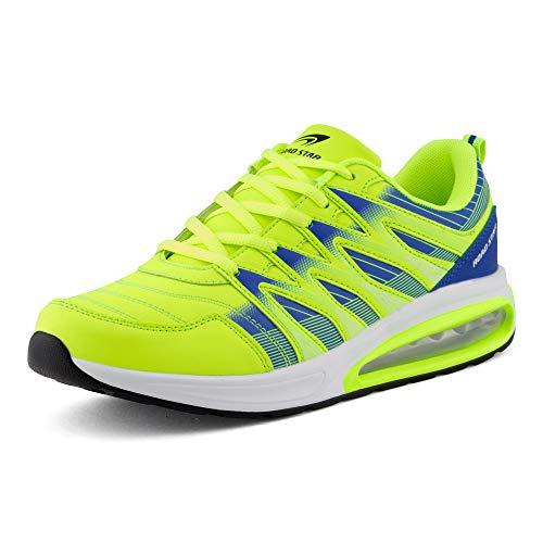 Fusskleidung Herren Damen Sportschuhe Sneaker Dämpfung Laufschuhe Übergröße Neon Jogging Gym Unisex Grün Blau EU 42