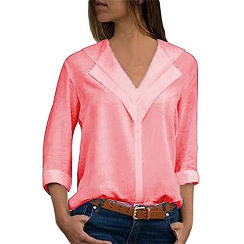 TOPSELD T Shirt Damen, Mode FüR Frauen Chiffon Feste T-Shirts BüRo Plain Rollten ÄRmel Bluse ()