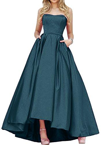 Gorgeous Bride Einfach Traegerlos Hi-Lo Satin Lang Abendkleid Promkleid Abendmode Inkblau